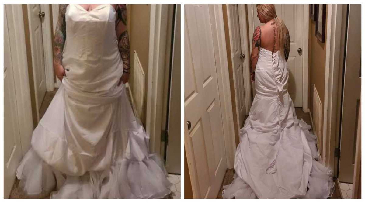 Woman tries out wedding gown on the wrong side